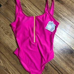 NWT YMI Pink Bathing Suit with Zipper Front
